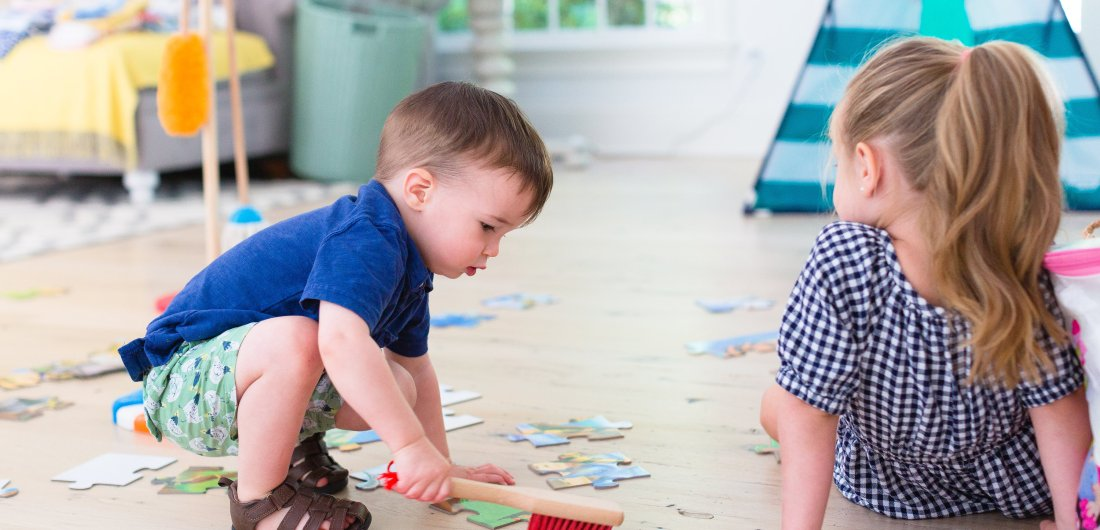 Eva Amurri Martino's son Major plays with his favorite cleaning set toy from Melissa & Doug