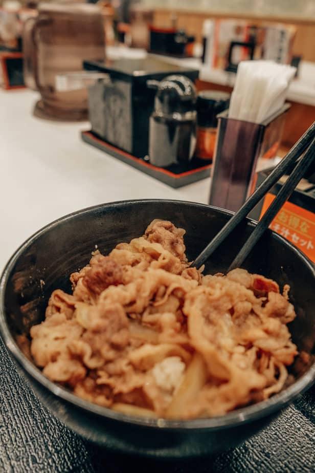 Yoshinoya beef bowl in Japan