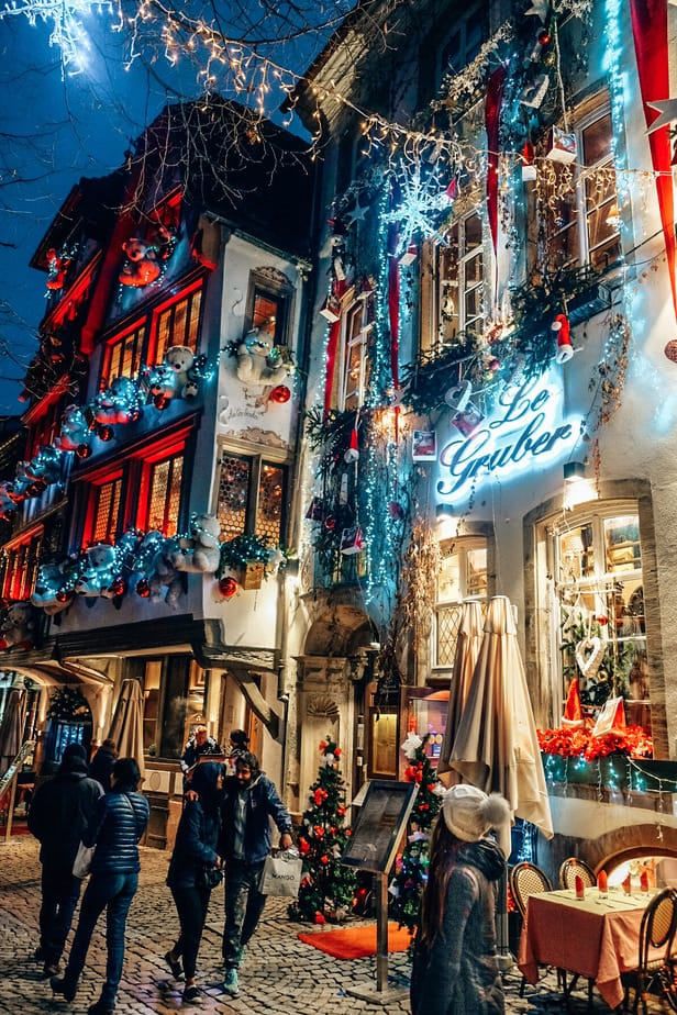 Christmas lights at night in Strasbourg, France