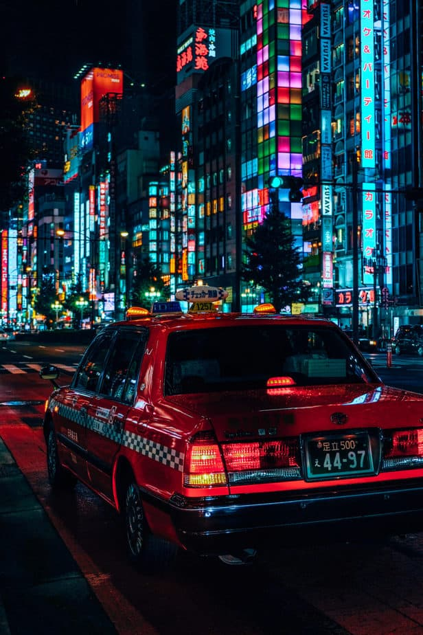 A pink taxi in Tokyo, Japan