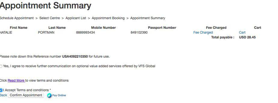 Appointment Summary from VFS Global