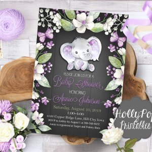Printable baby shower invitation with purple elephant