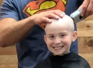 kid shaves head