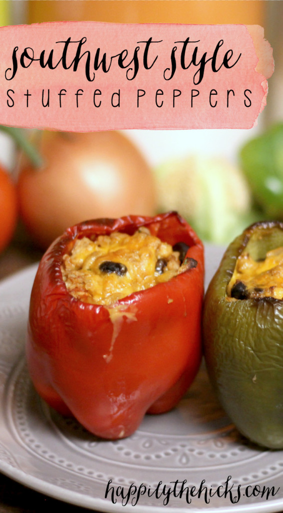 These southwest stuffed peppers are full of lean protein, veggies and topped with a little bit of cheese to give you a delicious meal in under an hour. | read more at happilythehicks.com
