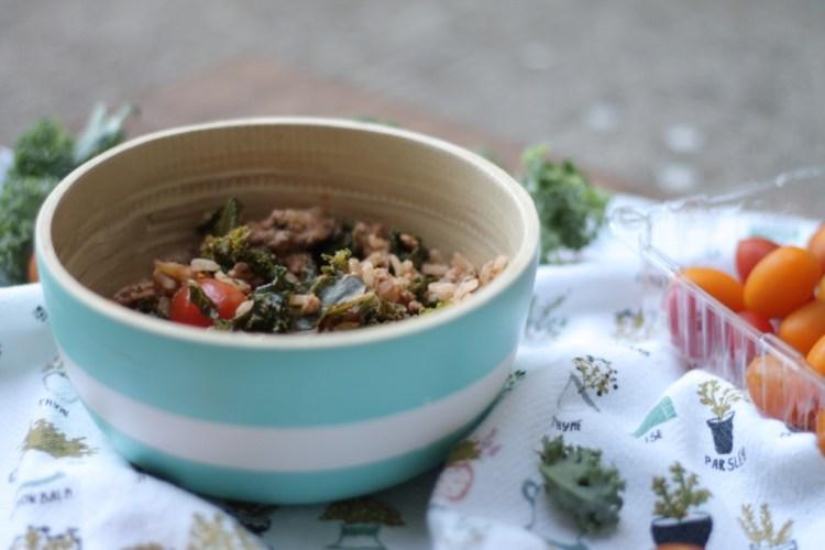 Ground Turkey and Rice Bowl | read more at happilythehicks.com