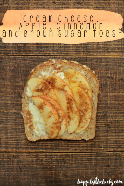 Cream Cheese, Apple, Cinnamon and Brown Sugar Toast | read more at happilythehicks.com