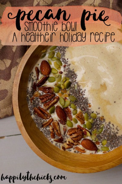 Pecan Pie Smoothie Bowl- your new favorite (healthy) holiday treat! | read more at happilythehicks.com