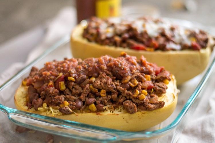Spaghetti Squash Taco Casserole - Light & Fresh Recipe Series | read more at happilythehicks.com