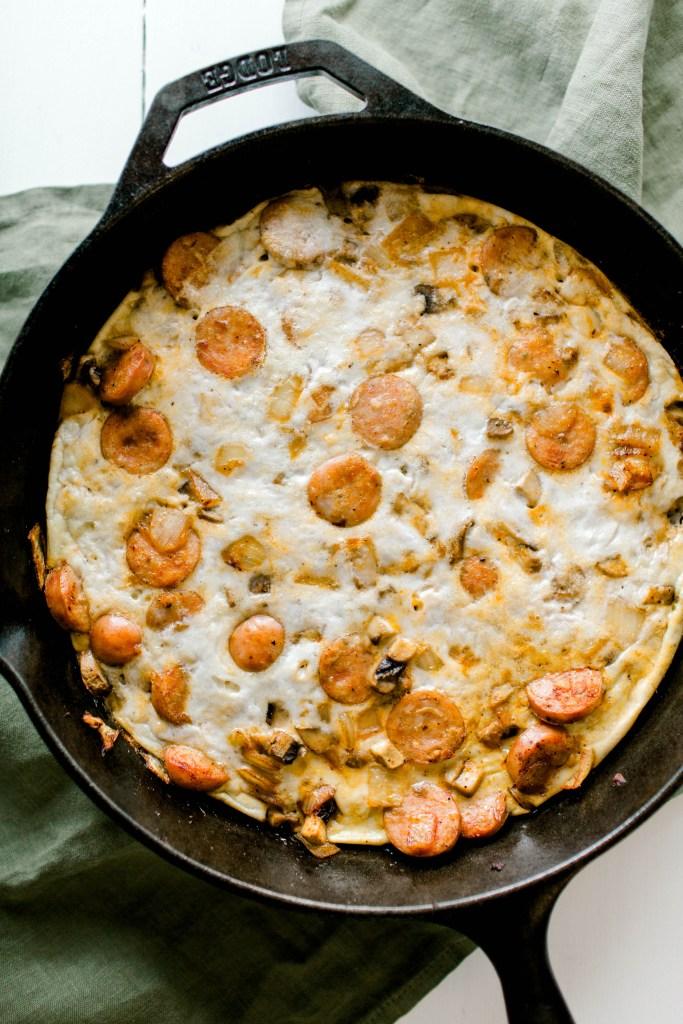 Sausage, Mushroom and Onion Frittata | read more at happilythehicks.com