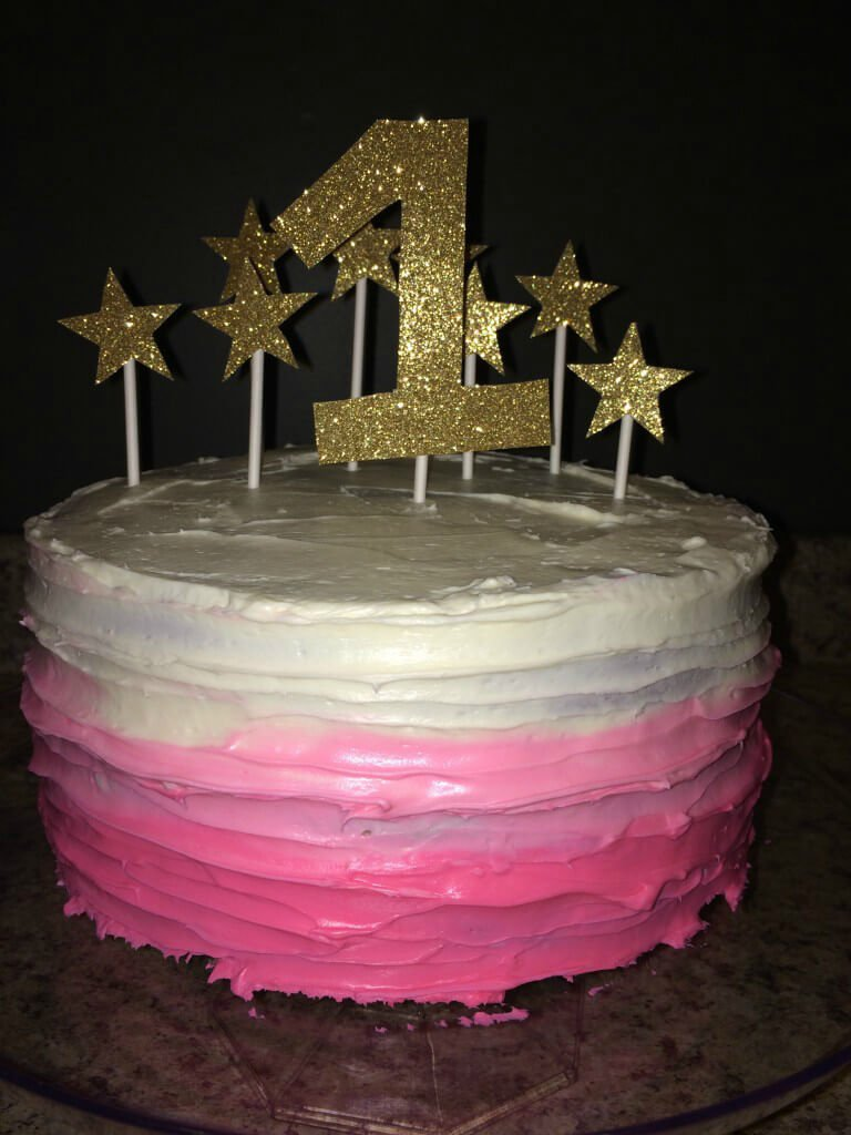 Twinkle Twinkle Little Star First Birthday Ombre Cake