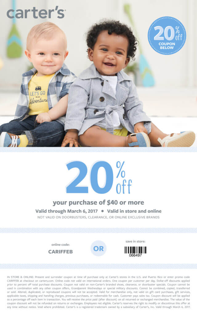 Carter's 20% Off Coupon February 2017