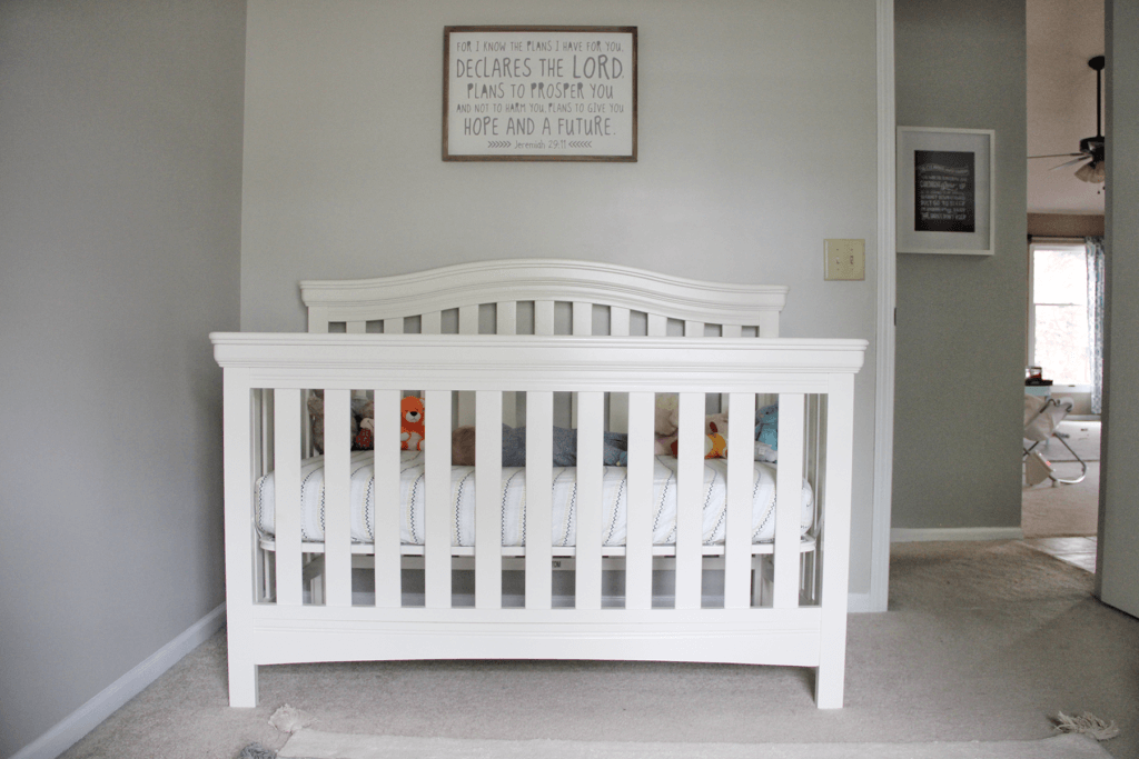 White Crib in Neutral Nursery