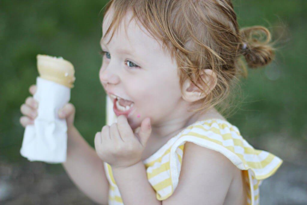Blaire eating ice cream