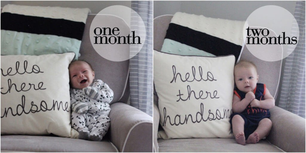 Ben at 1 Month and 2 Months