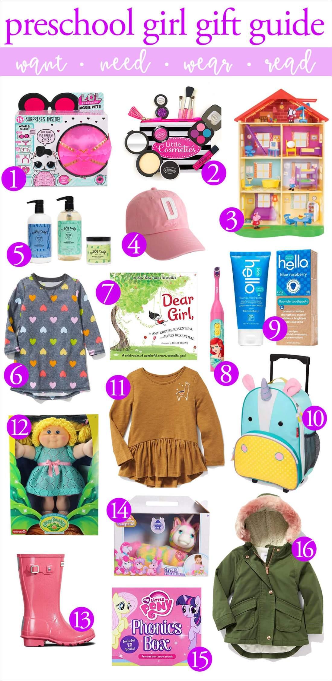 preschool girl gift guide: want need wear read