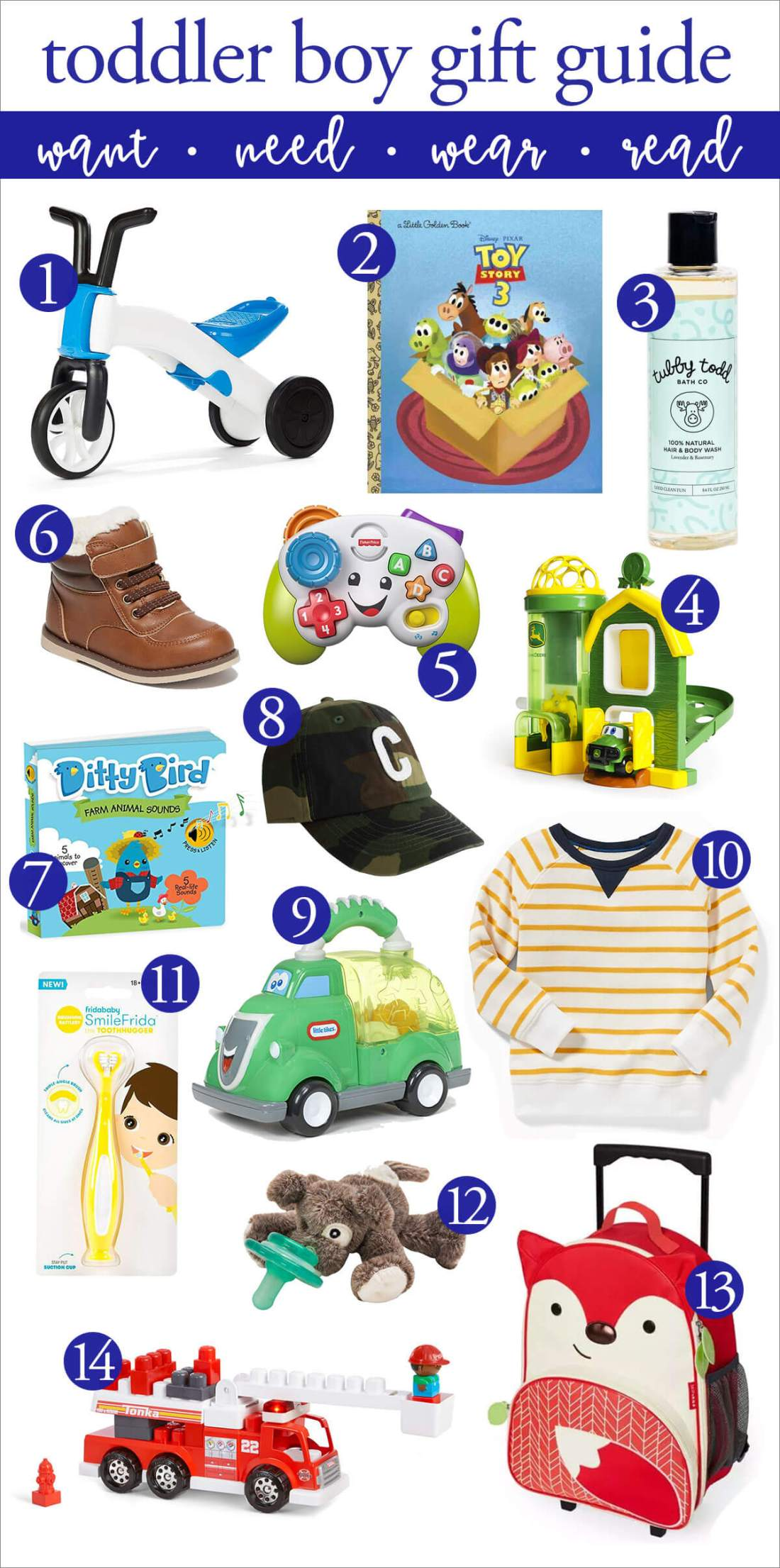 toddler boy gift guide: want need wear read