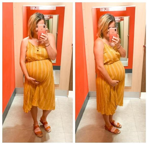 Target Try On: Summer Dresses / Women's Striped V-Neck Strappy Lace-Up Top Midi Dress - Xhilaration™ Golden Yellow
