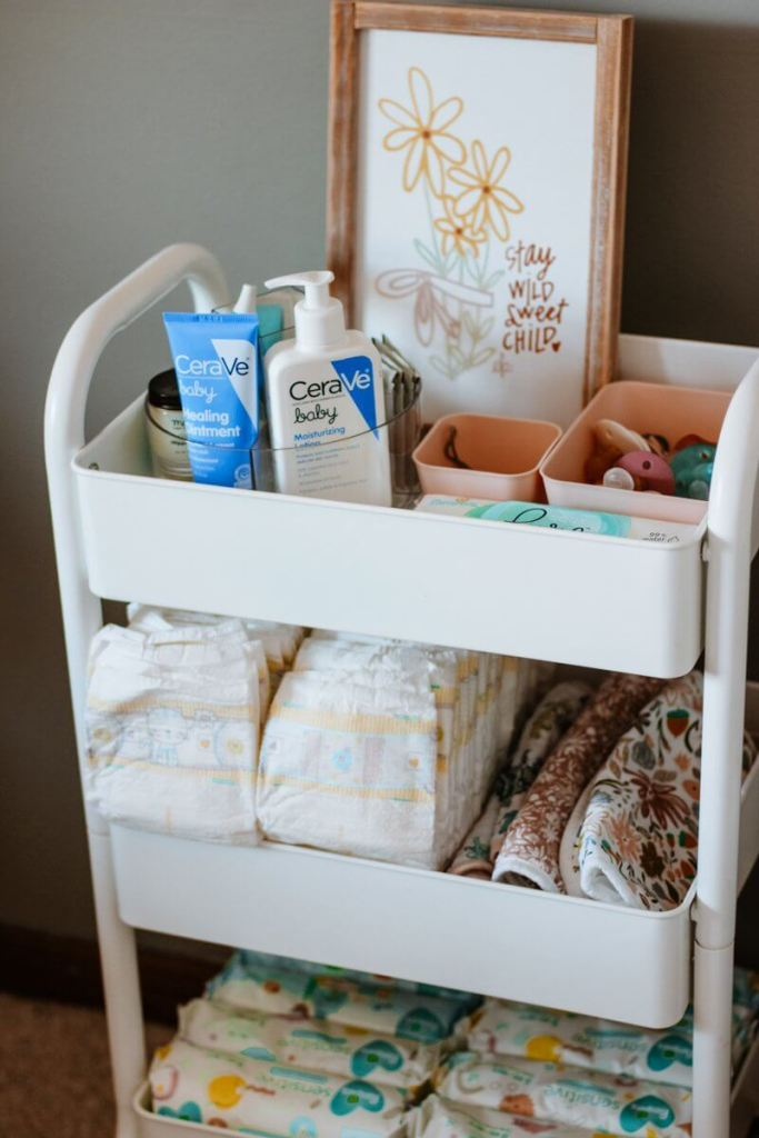 diaper changing cart in nursery