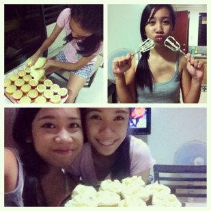 Sister busy piping while I'm goofing around. :D