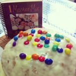 Carrot Cake with Vanilla Frosting and M&Ms