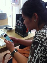 She's too busy with the new phone!