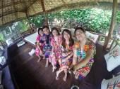 Wearing our batik robes!