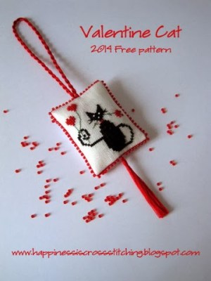 Cross Stitched Valentine Cat
