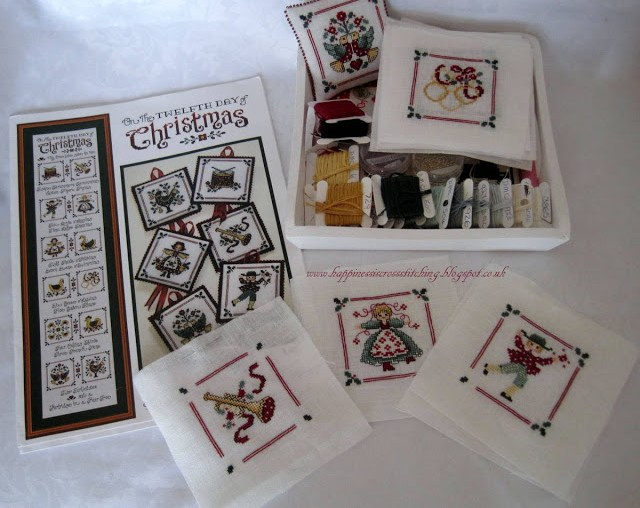 Twelve Days of Christmas cross stitch patterns featuring the designs to match the song