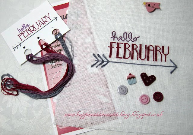 Hands on Design Cross Stitch pattern featuring a February cross stitch  with cute buttons