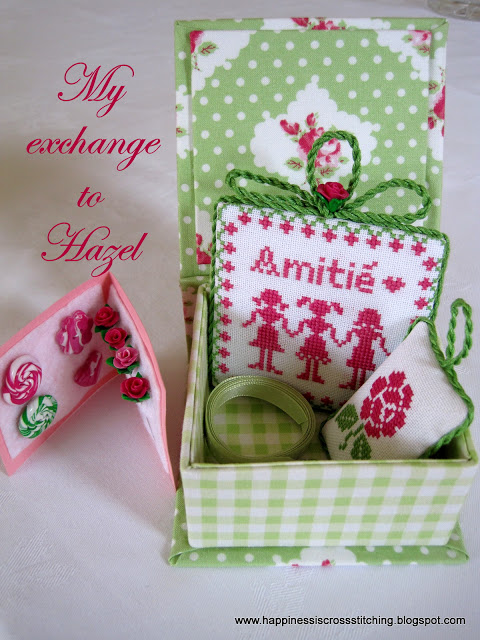 Cross stitched covered box with matching pin keep, pillow and polymer clay roses