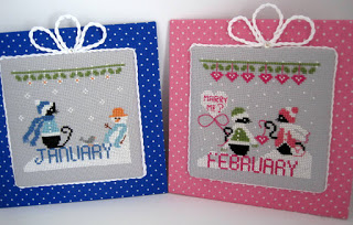Mini Cat Calendar Cross Stitch Patterns, featuring mini black cats with various design for each month