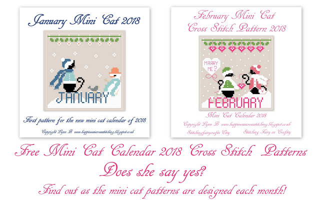 Free Mini Cat Cross Stitch Patterns, a black cat in the snow wrapped up in hat and scarf and for February Miss Mini Cat joins Mini Cat in the snow