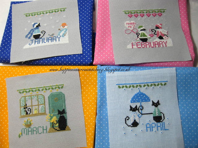 January, February, March and April cross stitch calendar finishes that feature a small mini black cat in each month of the year.