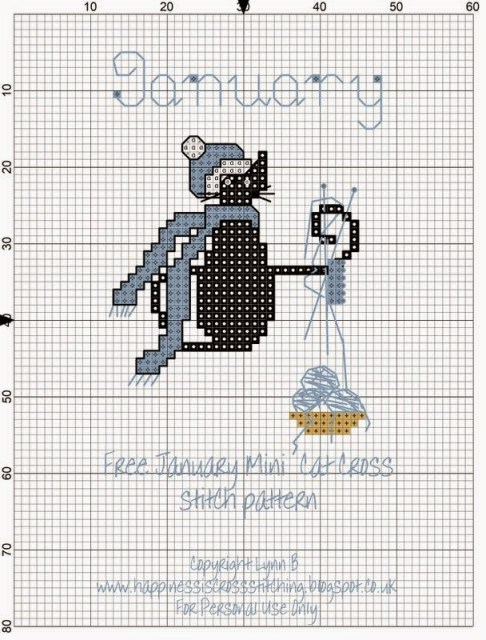 January mini cat cross stitch pattern by Lynn B