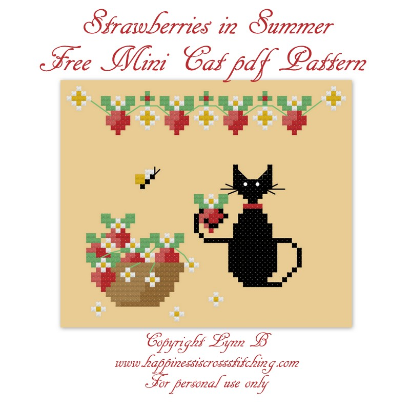 Mini black cat cross stitch pattern featuring a small black cat holding a strawberry from the bowl on the table. Above the cats head are a garland of flowers with strawberries growing.