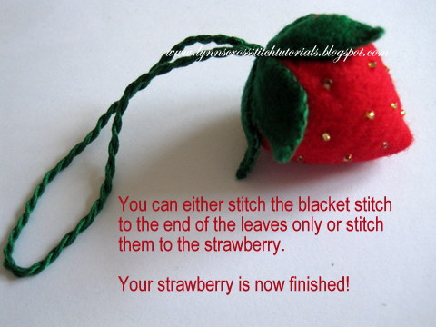 Strawberry made from felt  to hold your needles when stitching.