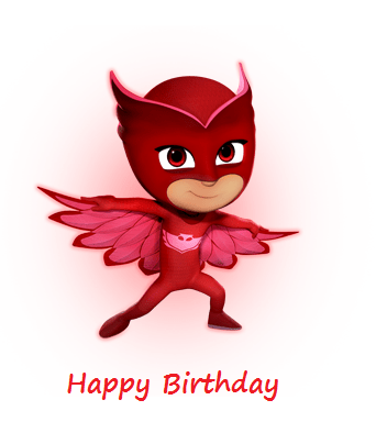 pj mask owlette happy birthday card