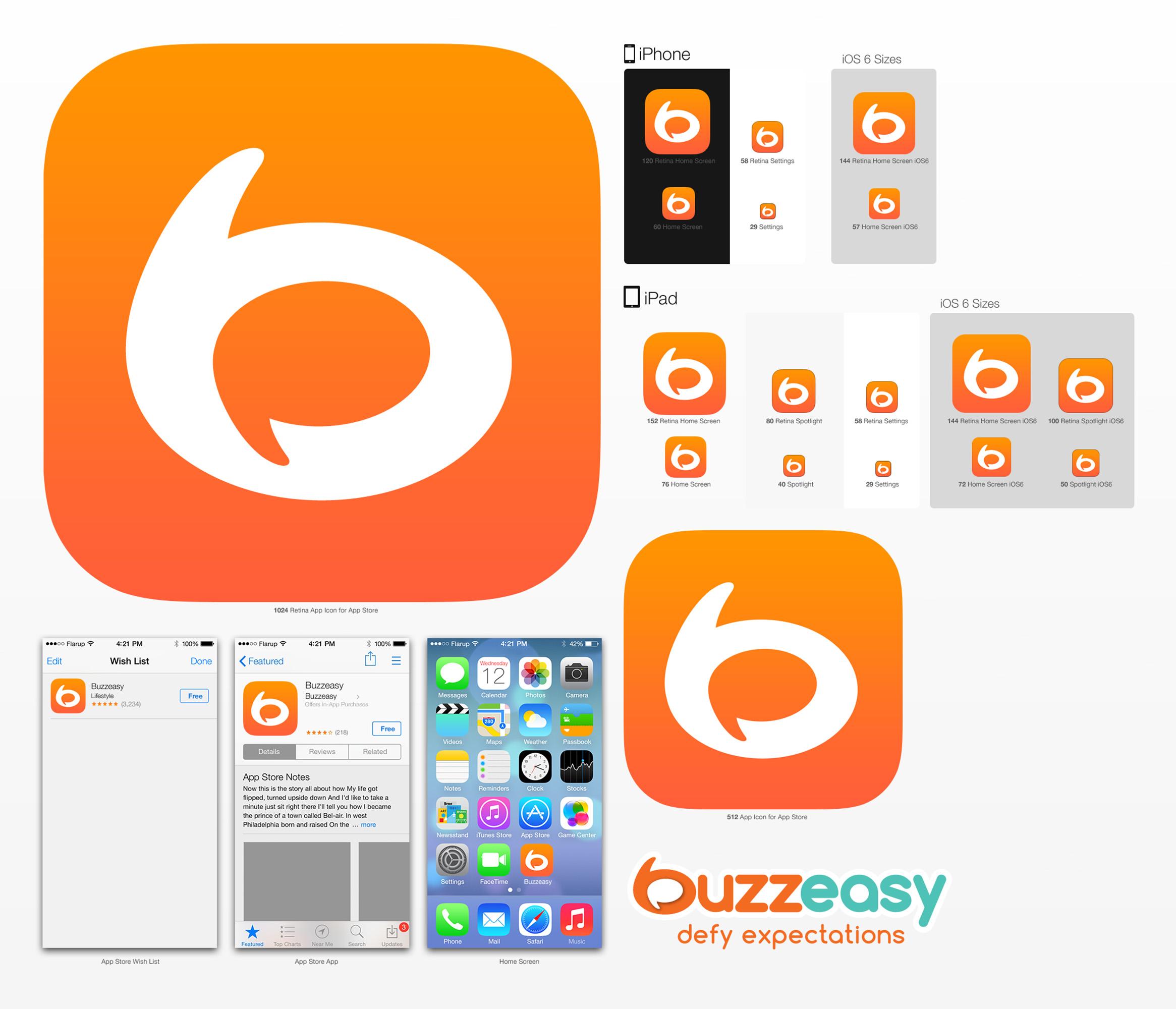 Buzzeasy brand assets app design