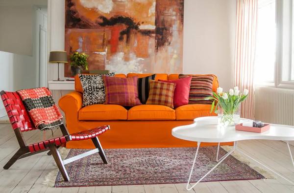 декоративните елементи в интериора - оранжево