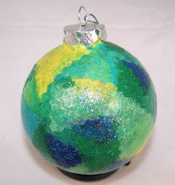 glass ornament covered in tissue paper