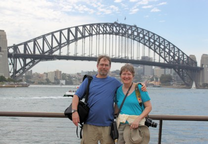Me and Lynda at the Circular Quay with Sydney Harbour Bridge in background