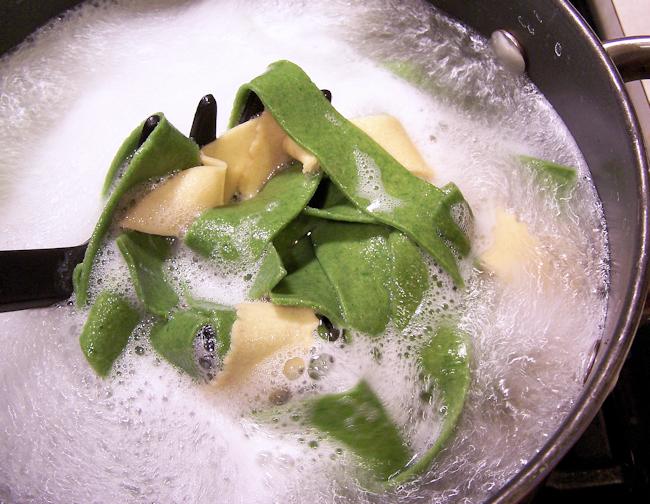 homemade spinach egg noodles