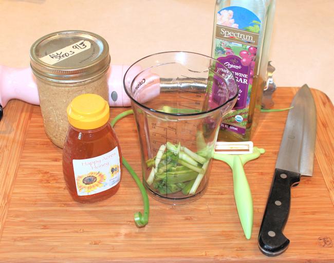 ingredients for garlic scape salad dressing