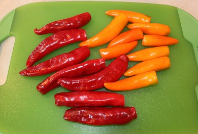 Dulce Rojo and Sweet Happy Yummy peppers for drying