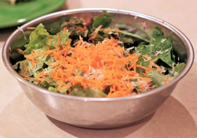 salad with lettuce, arugula, carrots and radish