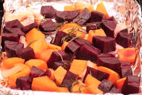 baked purple and orange sweet potatoes