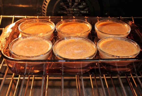 pumpkin custard baking in the oven