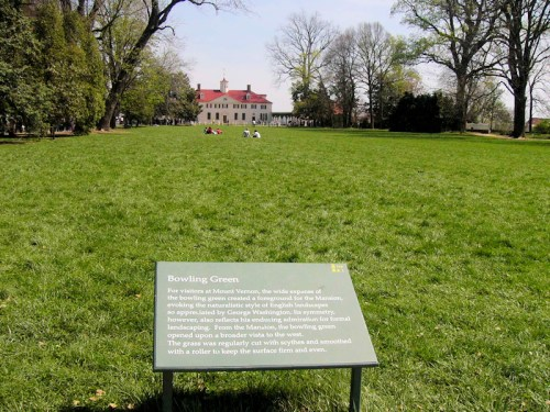 front lawn at George Washington's house, Mount Vernon (from Wikimedia Commons)