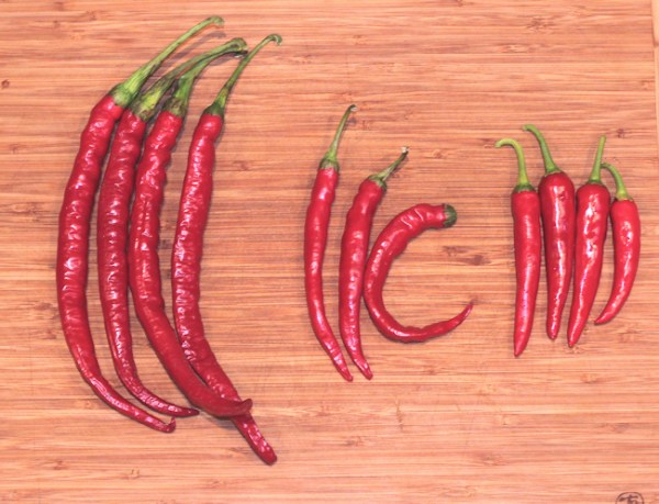 trio of cayenne peppers: Joe