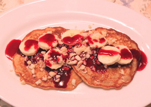 Whole Wheat Sourdough Pancakes with Blueberry Syrup